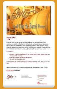 Avio Vineyard's Roll Out The Barrel Party Announcement