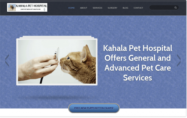 Our original website design for Kahala Pet Hospital's website