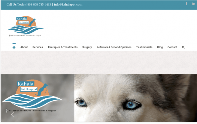 Our 2018 redesign/rebranding of the Kahala Pet Hospital website.